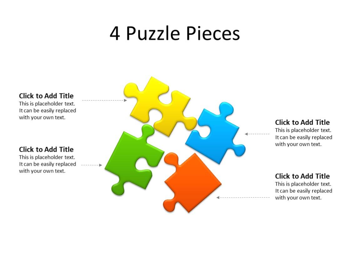 PowerPoint Slide - Puzzle Diagram - 4 Puzzles - Multicolor