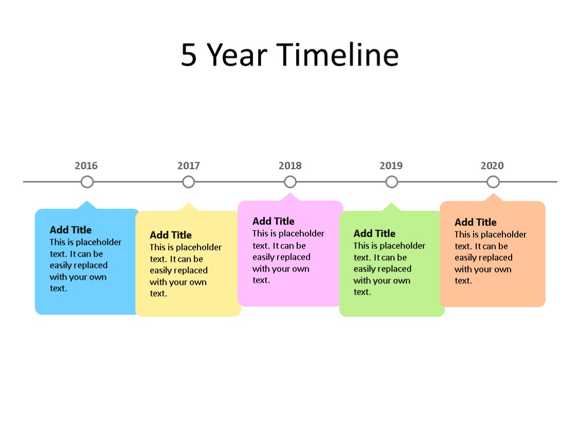 PowerPoint Slide - Timeline Diagram - 5 Years - Multicolor