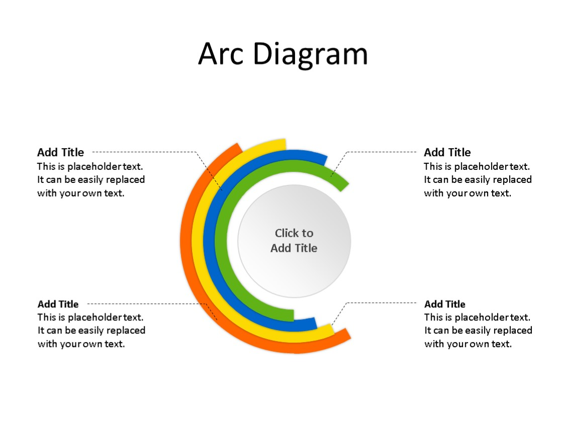 PowerPoint Slide - Arc Diagram - 4 Arcs - Multicolor