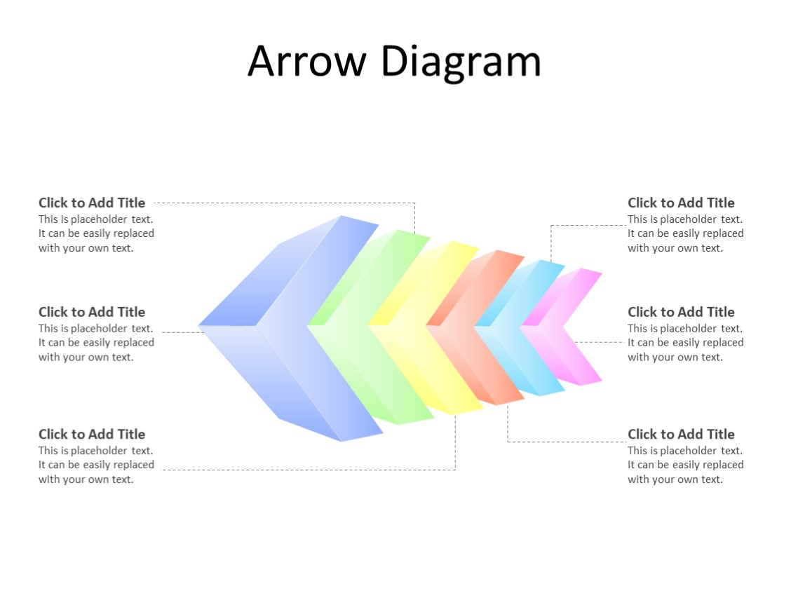 PowerPoint Slide - Arrow Diagram - 6 arrows - Multicolor