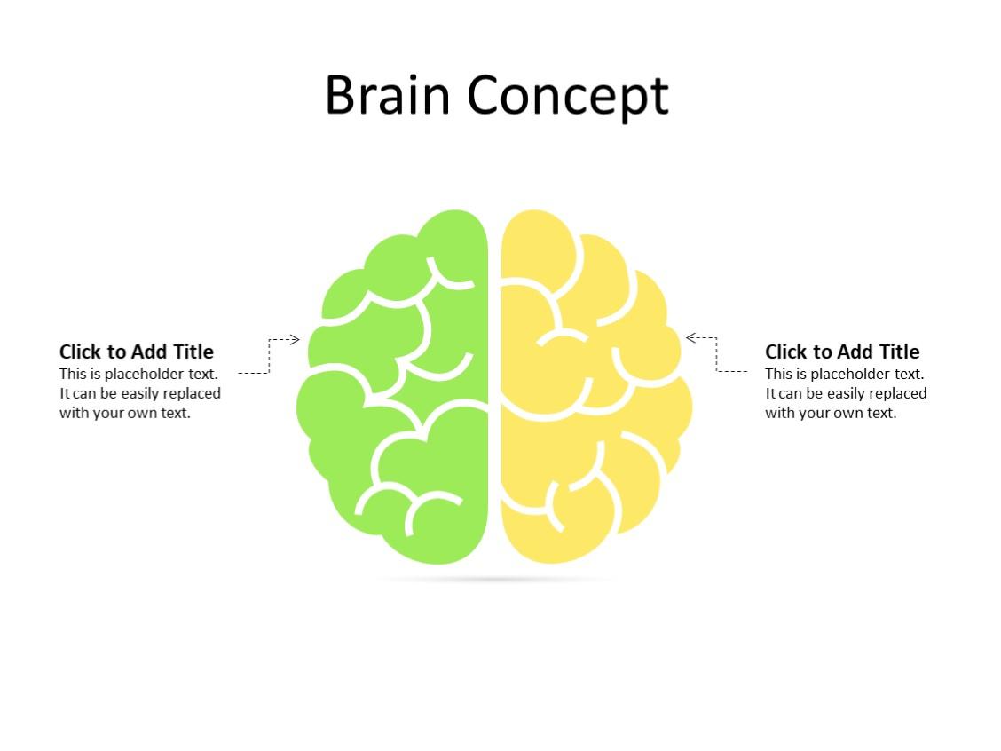 PowerPoint Slide - Human Brain - 2 parts - Multicolor