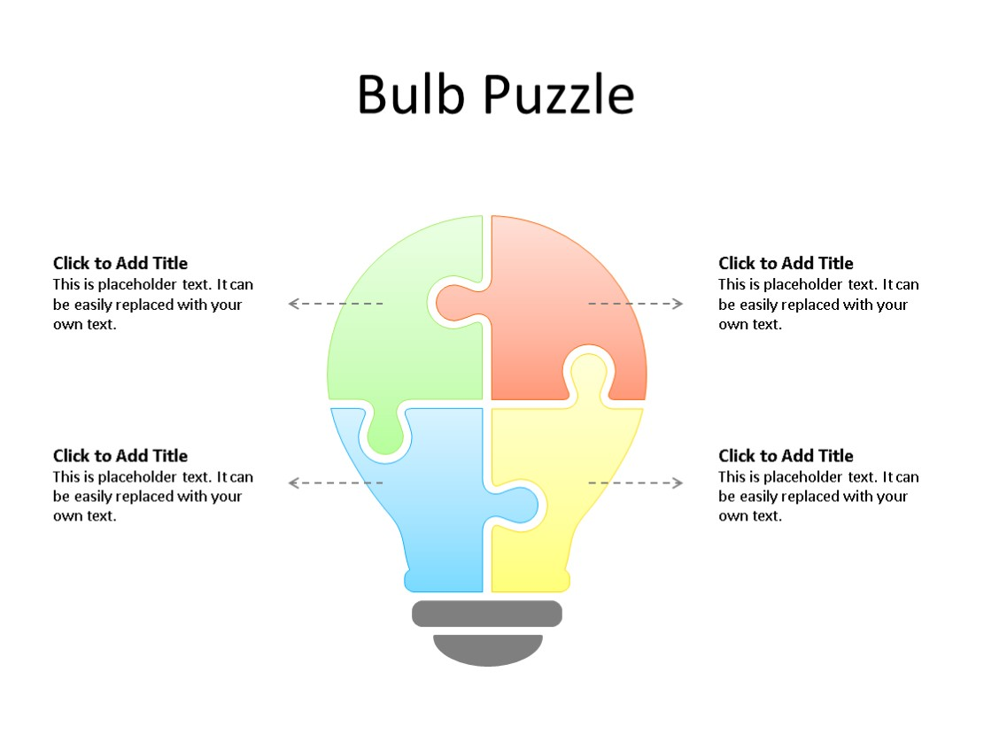 PowerPoint Slide - Puzzle Diagram - 4 Puzzle - Multicolor