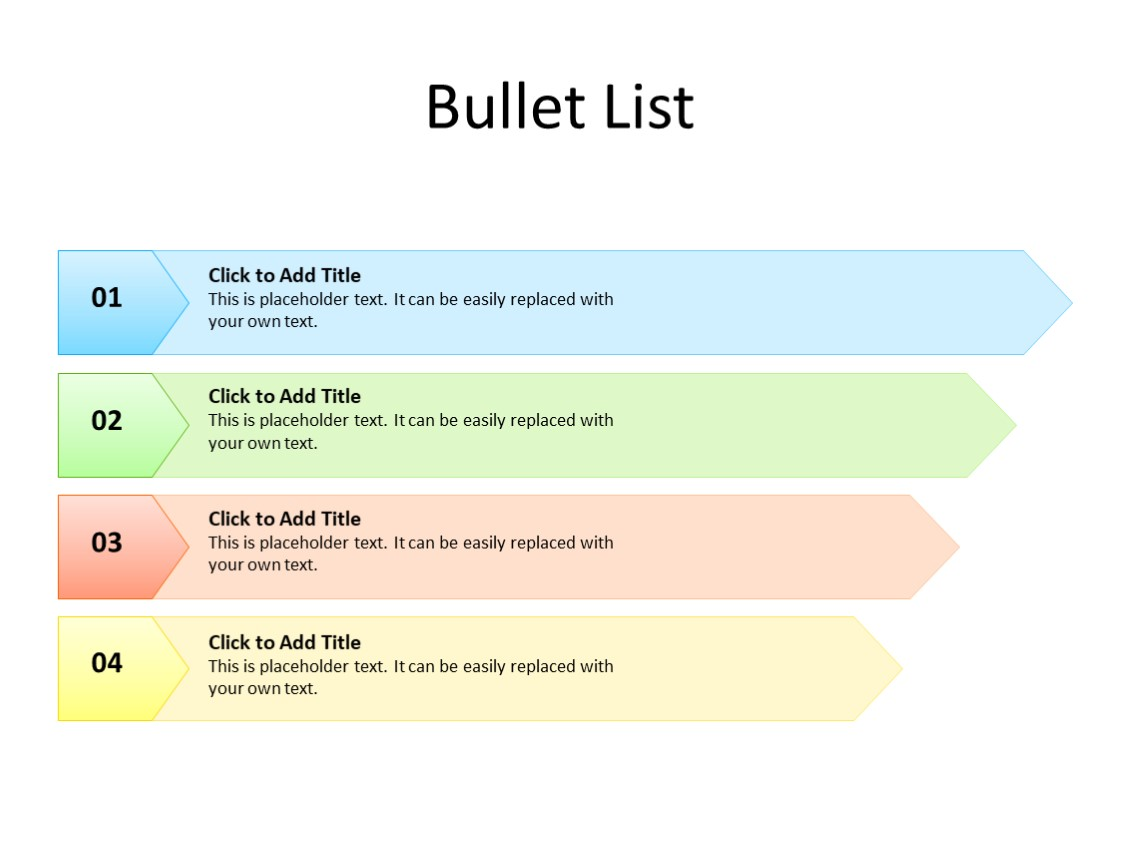 PowerPoint Slide - Bullet List - 4 items - Multicolor
