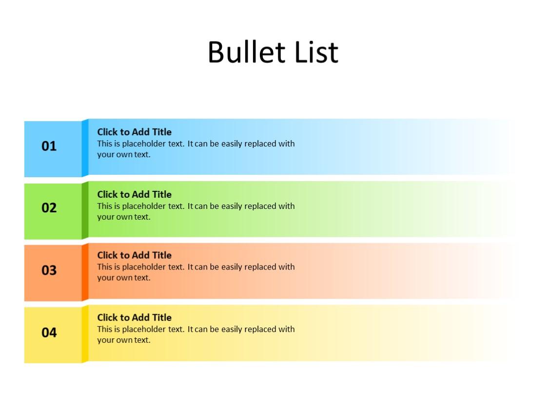 PowerPoint Slide - Bullet List - 4 items - Multicolor