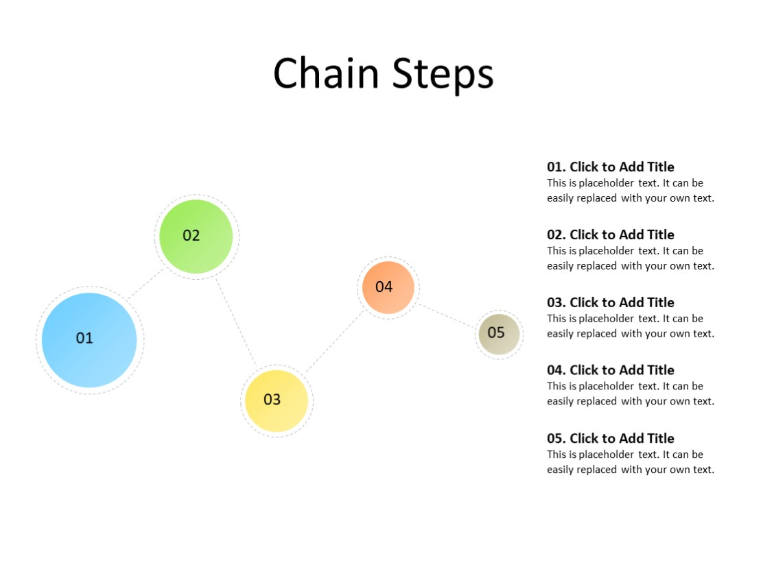 PowerPoint Slide - chain diagram - 5 objects - Multicolor