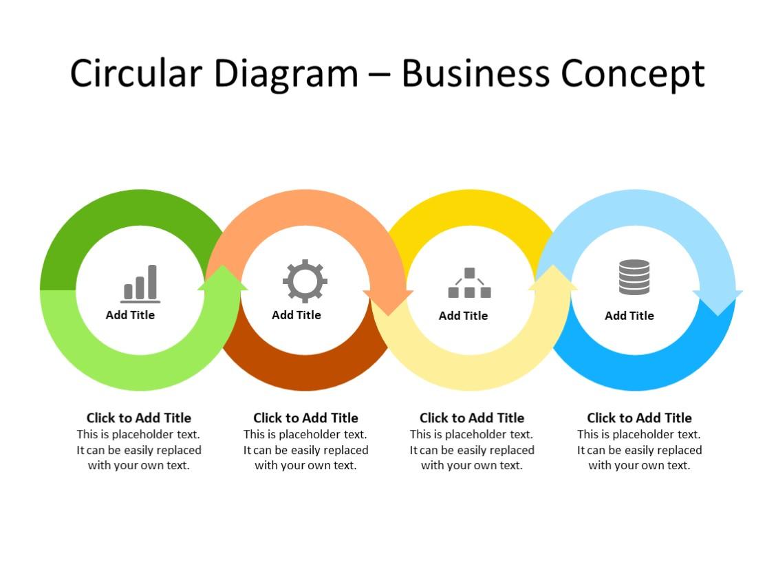 PowerPoint Slide - Steps Diagram - 4 arrows - Multicolor