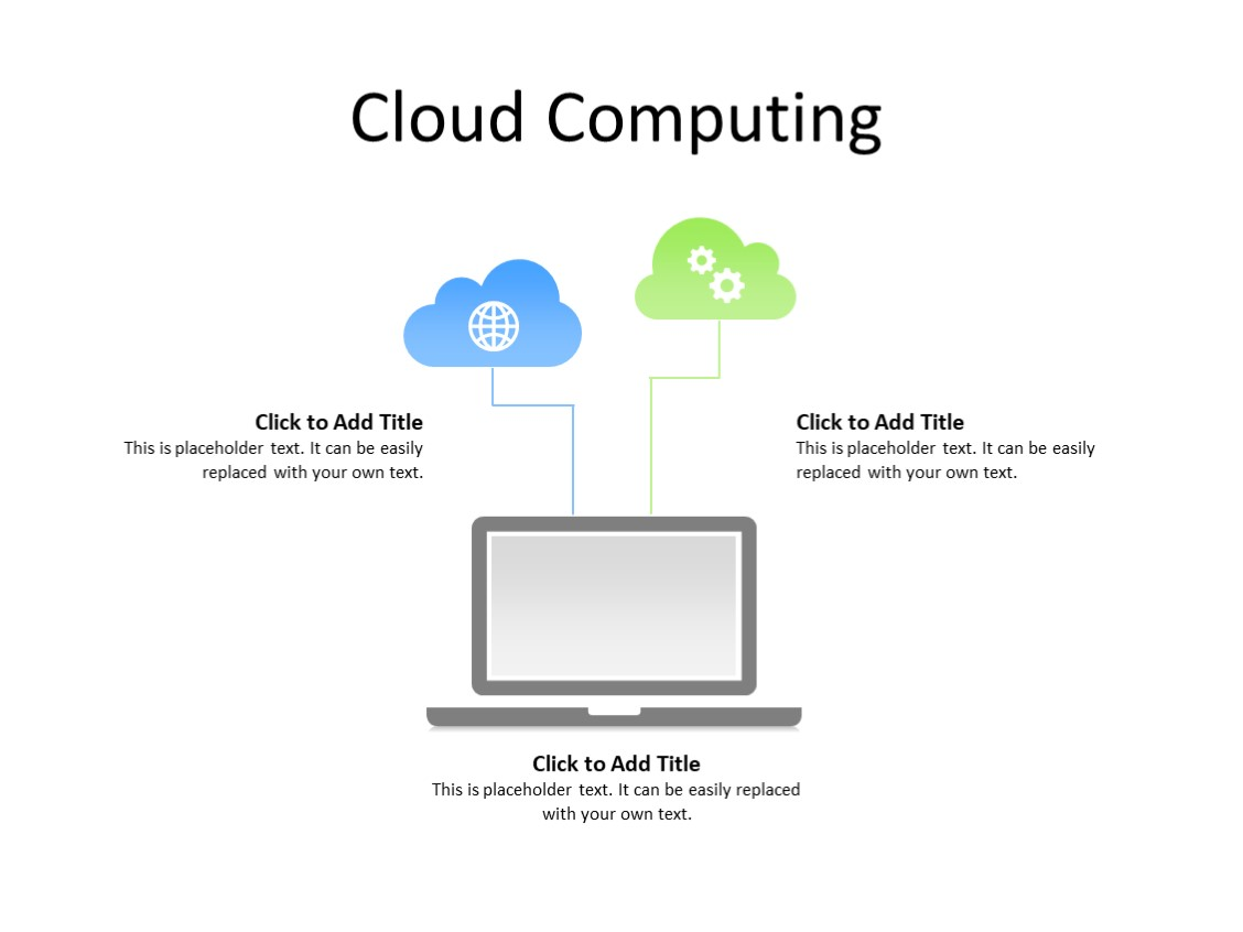 PowerPoint Slide - Cloud Computing - 2 clouds - Multicolor