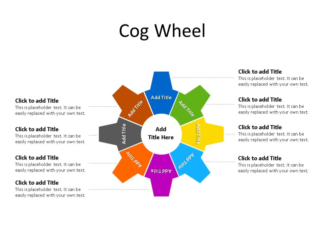 PowerPoint Slide - Step Diagram - 8 Cogs - Multicolor