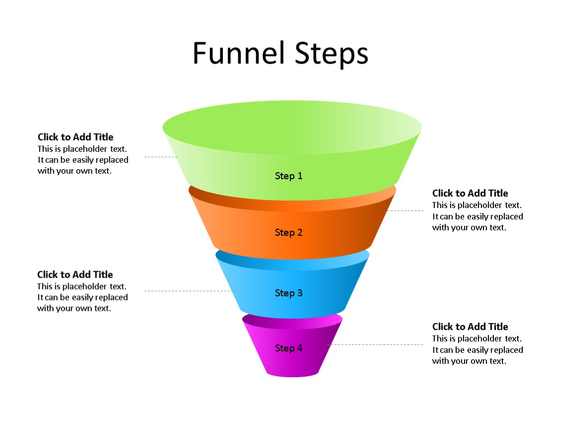 PowerPoint Slide - Funnel Diagram - 4 Stages - Multicolor