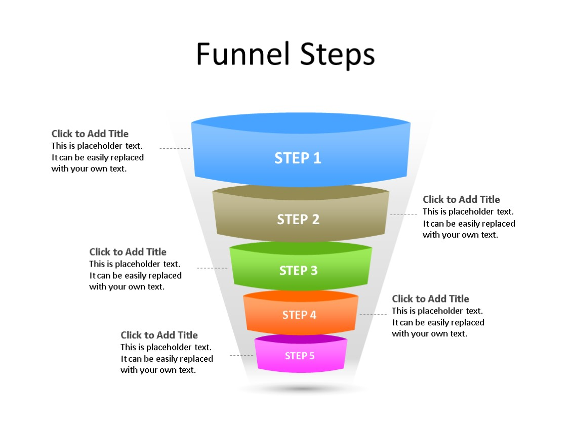 PowerPoint Slide - Funnel Diagram - 5 Steps - Multicolor