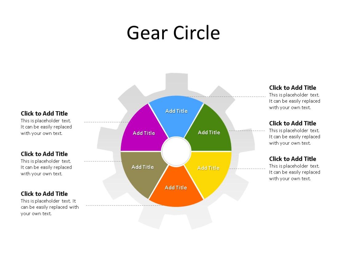 PowerPoint Slide - Gear Diagram - 6 Stages - Multicolor