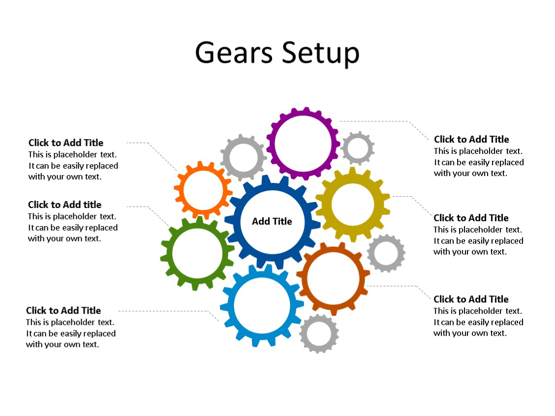 PowerPoint Slide - Gear Diagram - 11 Gears - Multicolor