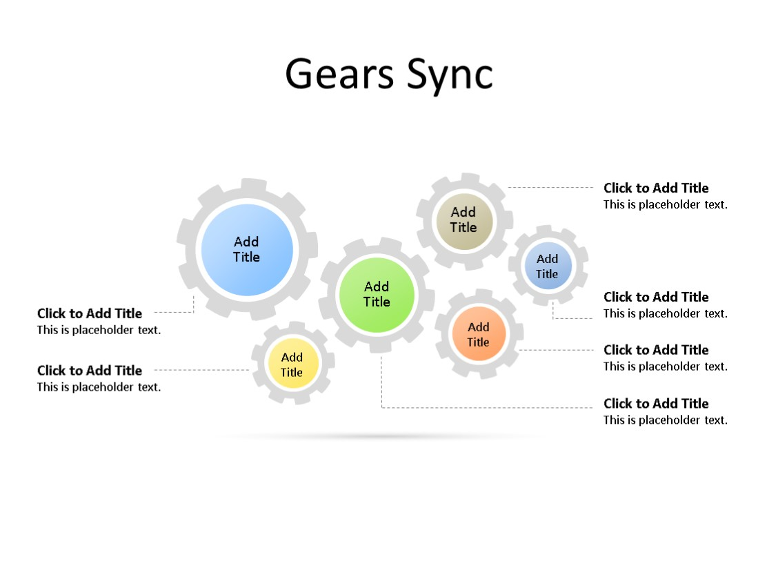 PowerPoint Slide - Gear Diagram - 6 Gears - Multicolor