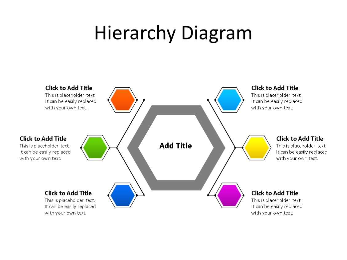 PowerPoint Slide - Hierarchy Diagram - 6 Steps - Multicolor