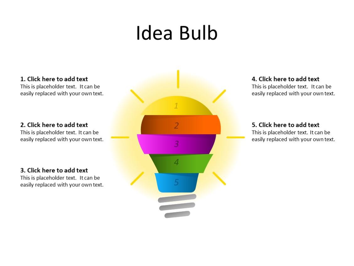 PowerPoint Slide - Idea concept - 5 levels - Multicolor