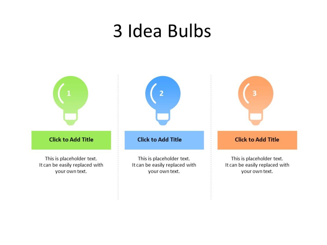 PowerPoint Slide - Idea concept - 3 bulbs - Multicolor