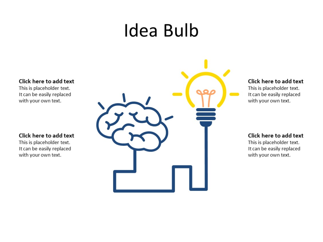 PowerPoint Slide - Idea concept - 1 bulb - Multicolor