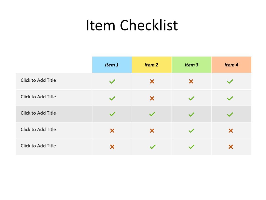 PowerPoint Slide - item checklist - 4 items - Multicolor