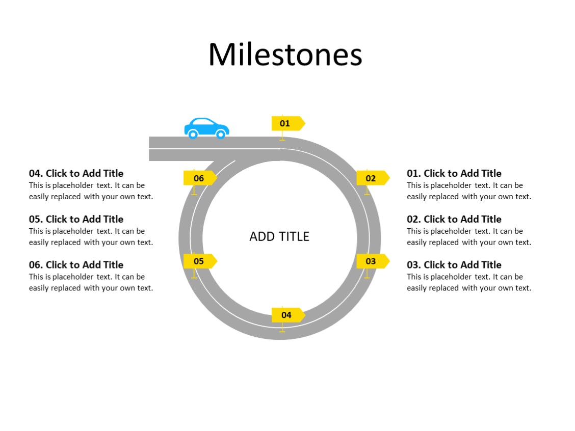 PowerPoint Slide - Timeline Diagram - 6 steps - Multicolor