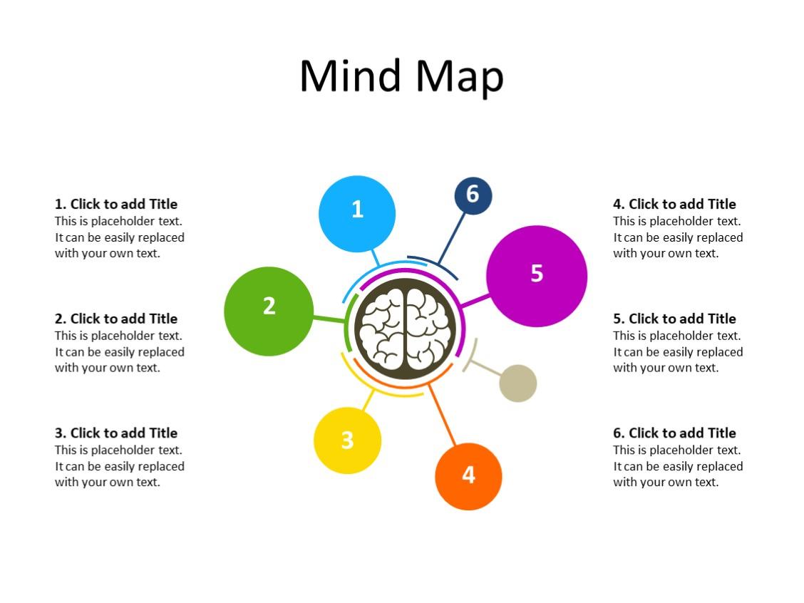 PowerPoint Slide - Mindmap diagram - 7 connections - Multicolor