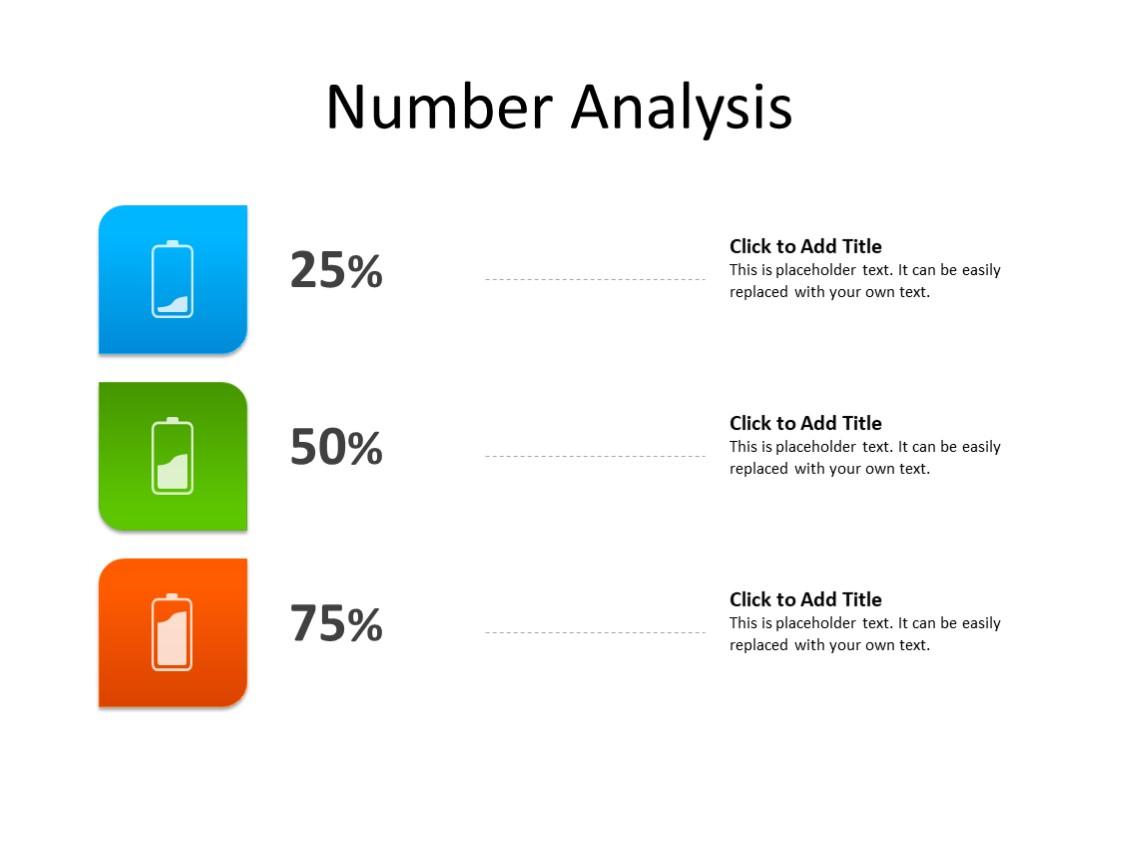 PowerPoint Slide - Number Analysis - 3 batteries - Multicolor