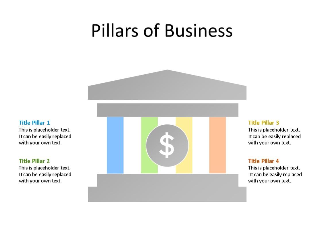 PowerPoint Slide - Pillar Diagram - 4 Pillars - Multicolor