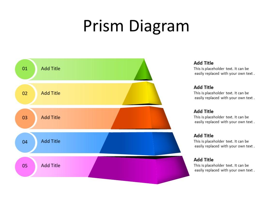 PowerPoint Slide - Prism diagram - 5 stages - Multicolor
