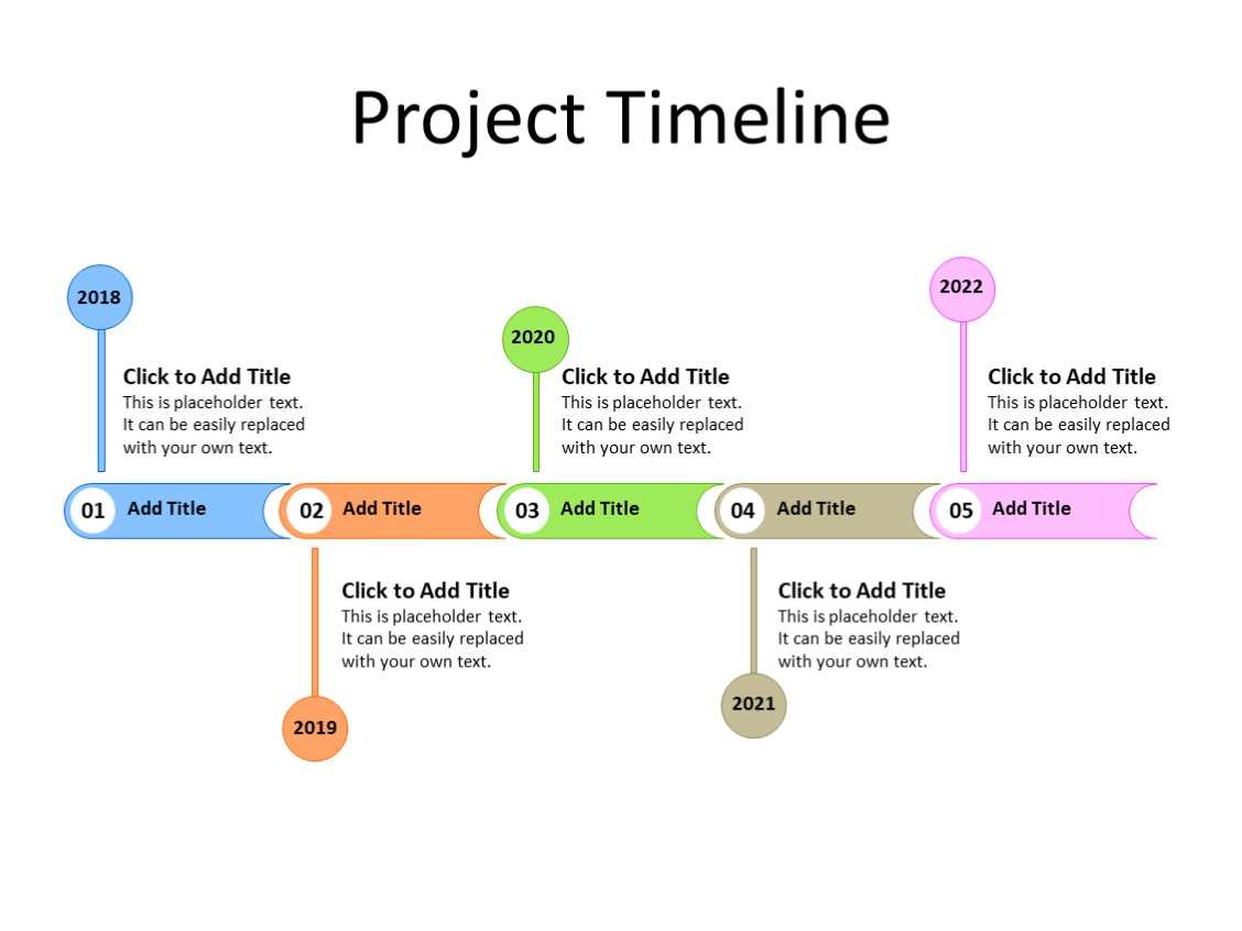 PowerPoint Slide - Timeline Diagram - 5 year - Multicolor