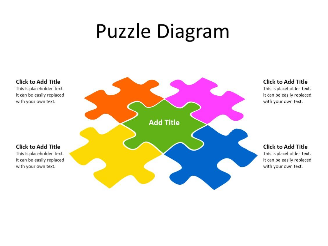 PowerPoint Slide - Puzzle Diagram - 5 pieces - Multicolor