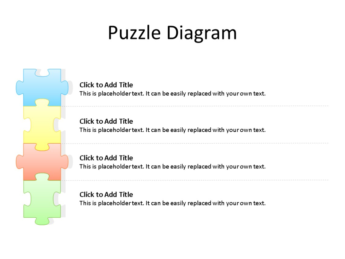 PowerPoint Slide - Puzzle Diagram - 4 Stages - Multicolor
