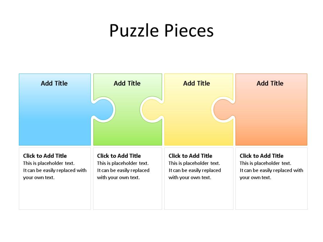PowerPoint Slide - Puzzle Diagram - 4 Pieces - Multicolor
