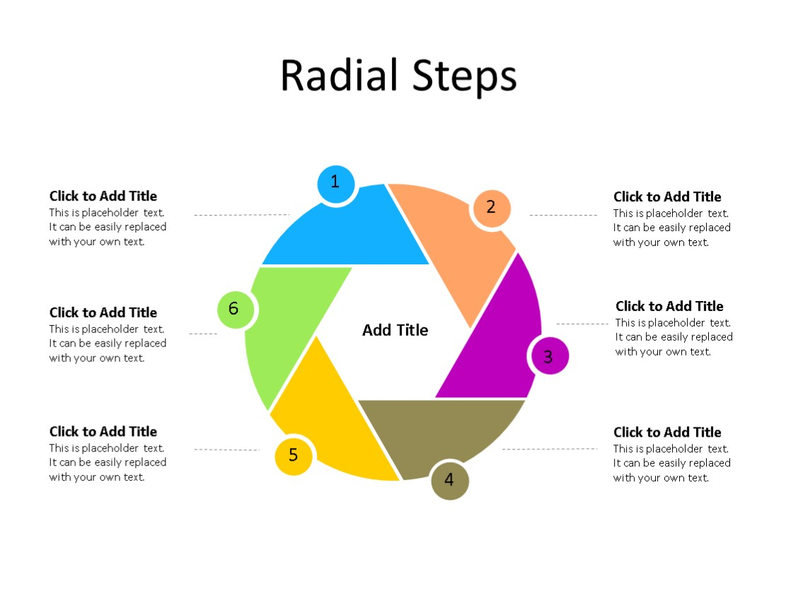 PowerPoint Slide - Radial Diagram - 6 Steps - Multicolor