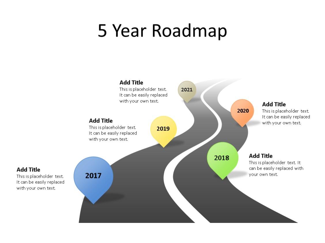 PowerPoint Slide - Timeline Diagram - 5 Stages - Multicolor