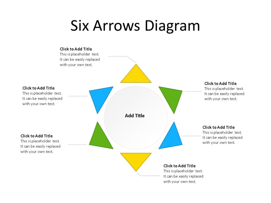 PowerPoint Slide - Radial Diagram - 6 Pieces - Multicolor