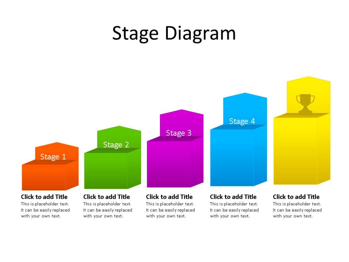 PowerPoint Slide - Stairs Diagram - 5 Steps - Multicolor
