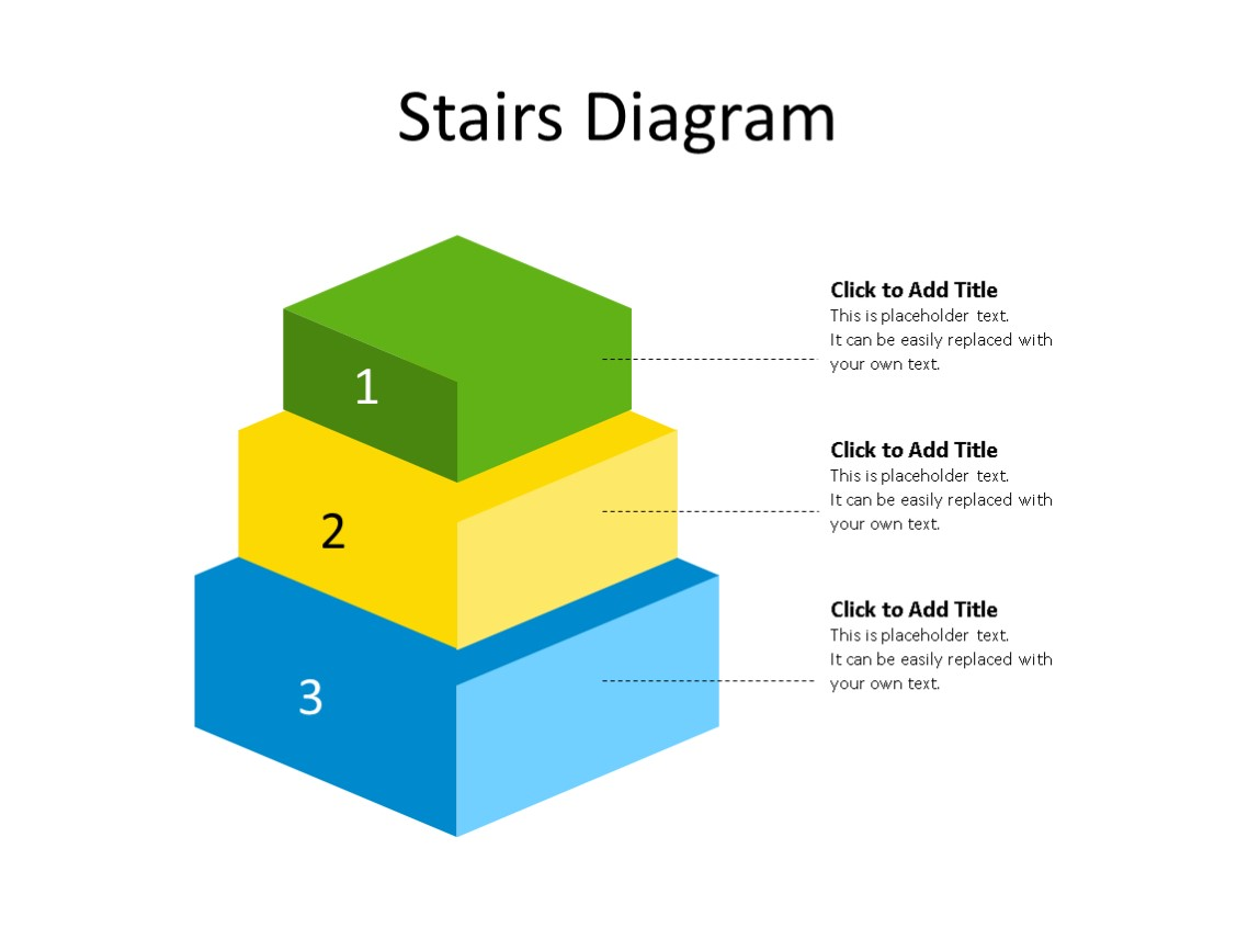 PowerPoint Slide - Stairs Diagram - 3 Steps - Multicolor