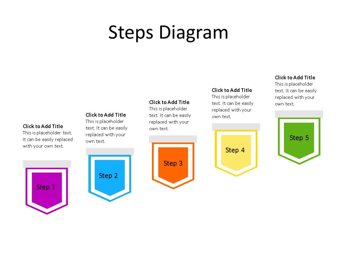 PowerPoint Slide - Steps Diagram - 5 Steps - Multicolor