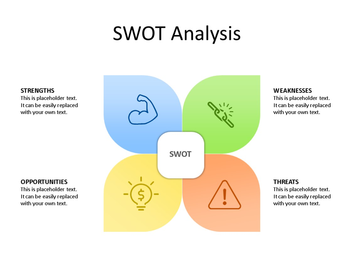 PowerPoint Slide - SWOT Analysis - 4 Pieces - Multicolor