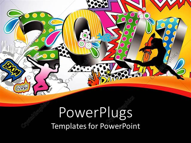 powerpoint template: 2011 written in 3d numbers with various, Modern powerpoint