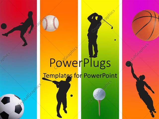 Powerpoint Template: 3 Football Golf Baseball And Basketball In