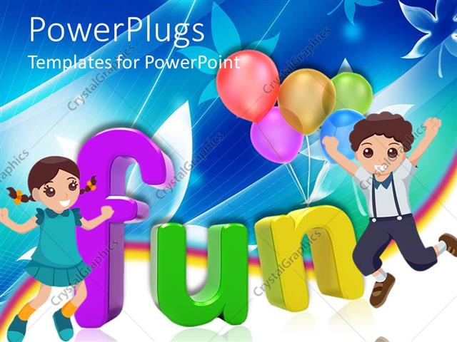 powerpoint template: 3d colored letters writing the word fun with, Modern powerpoint