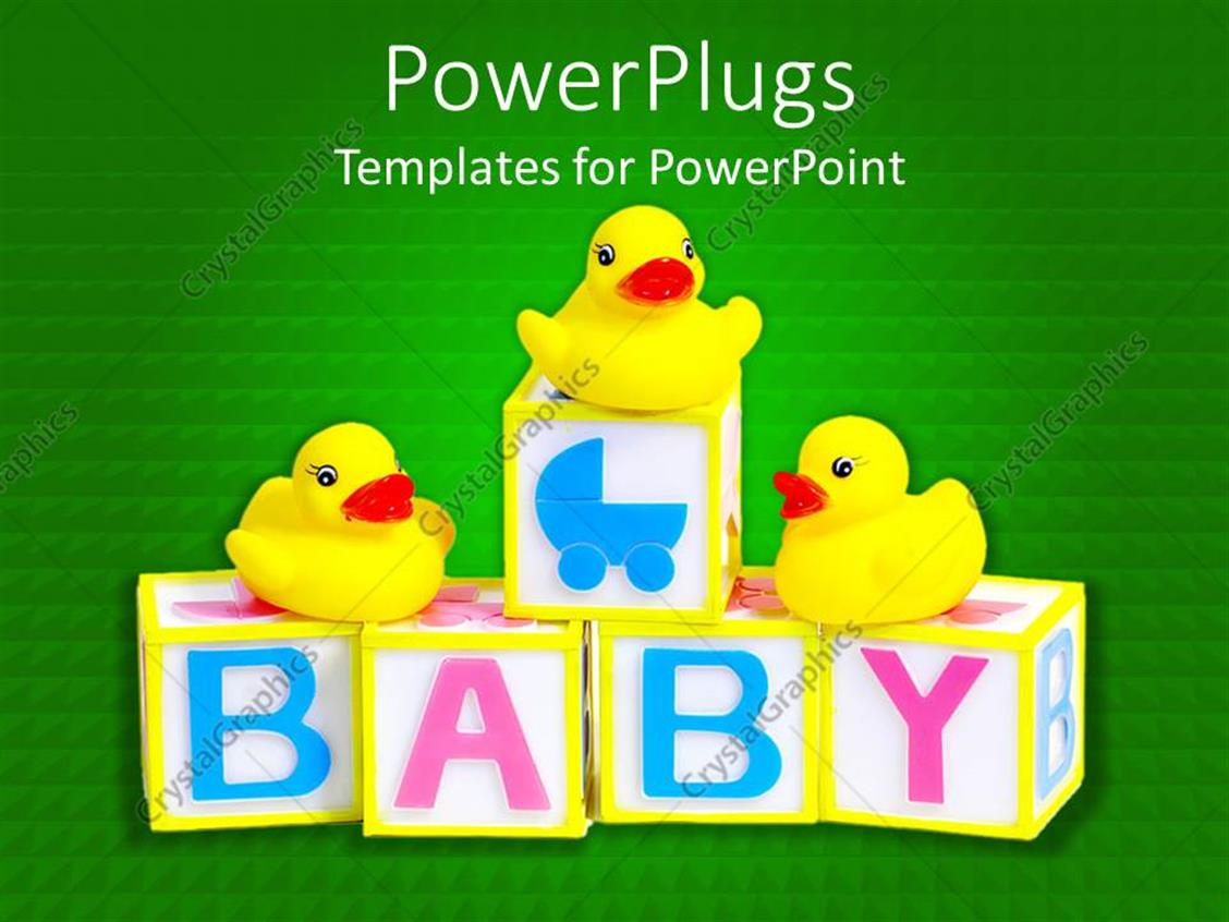 PowerPoint Template Displaying 3D Cubes with Pink and Blue Baby Word and Three Yellow Rubber Ducks on Green Background