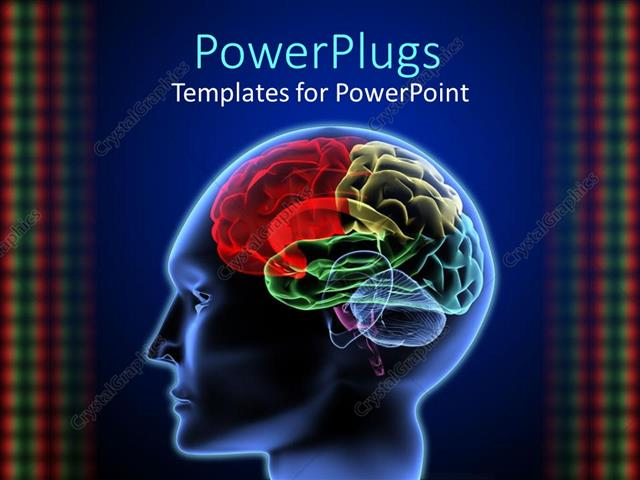 Powerpoint Template: 3D Graphics Of A Human Head Showing The Brain