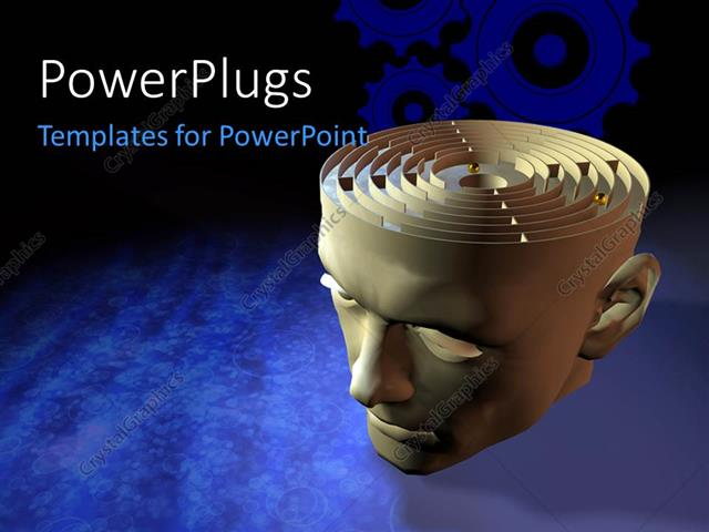 PowerPoint Template Displaying 3D Graphics of a large Head with a Maze on Top of it