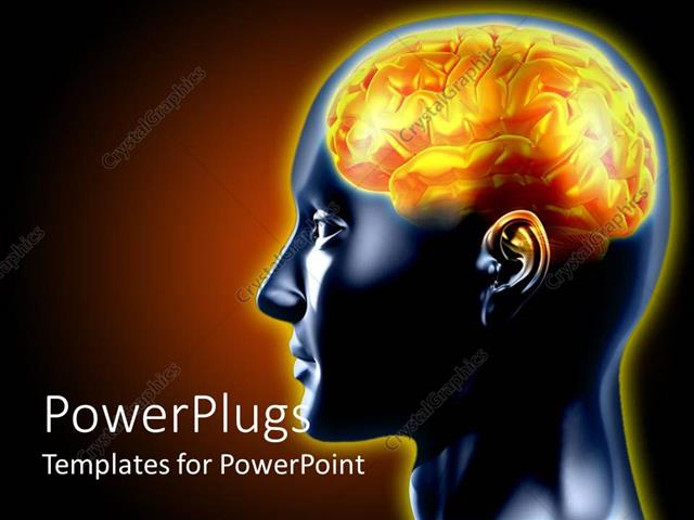 Powerpoint Template: A 3D Human Brain In Yelow Color On A Black