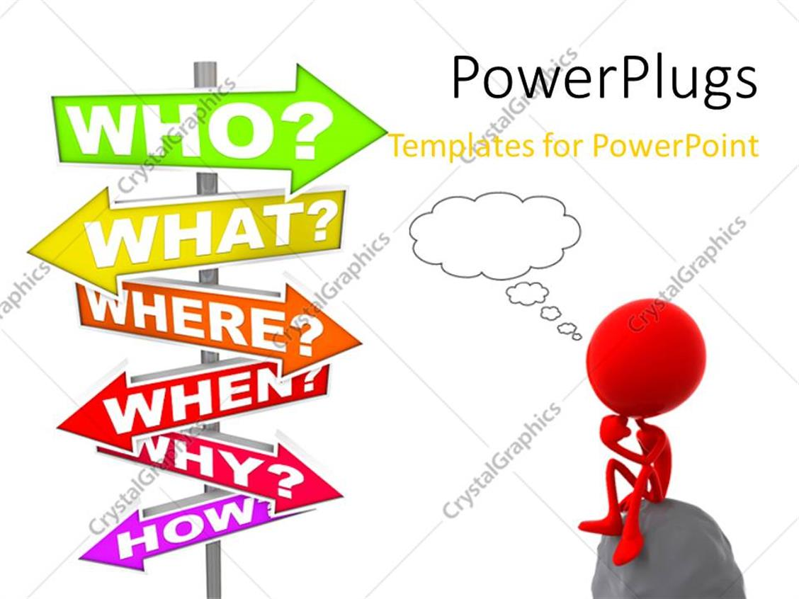 PowerPoint Template Displaying 3D Human Character Sitting on Stone and Thinking with Questions Sign Post and White Color