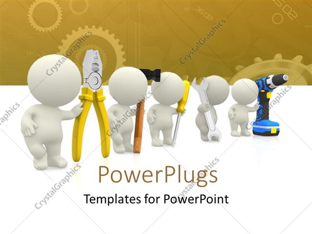 Powerpoint Template: 3D Human Characters Holding Mechanical Tools