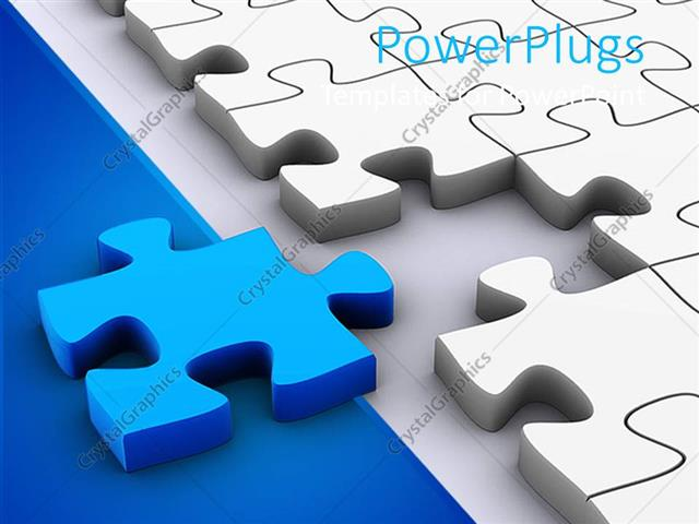 Powerpoint Template: 3D Jigsaw Puzzle Pieces, White Puzzle Pieces