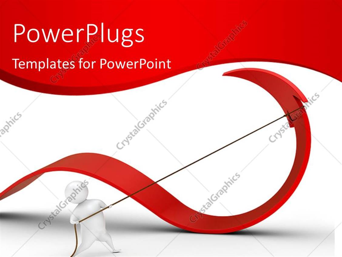 powerpoint template: 3d man pulling red arrow backwards with rope, Presentation templates