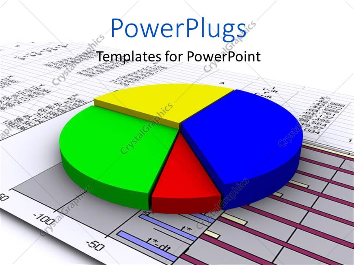 PowerPoint Template Displaying a 3D Multi Colored Pie Chart on a Graph Paper